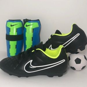 Nike Tiempo Youth Soccer Cleats and Guards